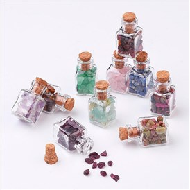 Glass Wishing Bottle Decorations, with Gemstone Chips Inside and Cork Stopper