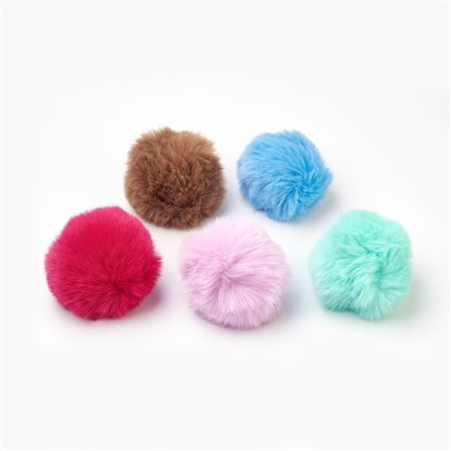 Handmade Imitation Rabbit Fur Pom Pom Ball Covered Pendants, with Elastic Fiber-1