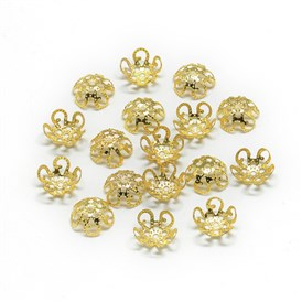 Plated Iron Bead Caps, Flower, 5-Petal, Filigree
