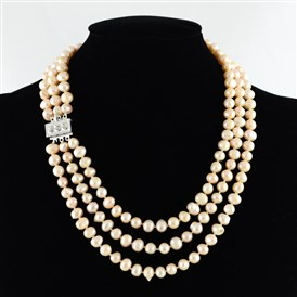 "3 Layer Necklaces, Natural Freshwater Pearl Potato Beads Necklaces, with Brass Rhionestone Box Clasps, 17.3"", Bead: 7~8mm"