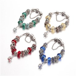 Mixed Color Alloy Rhinestone Bead European Bracelets, with Glass Beads and Brass Chain, Mixed Color, 190mm