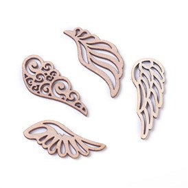 Wooden Cabochons, Laser Cut Wood Shapes, Wing
