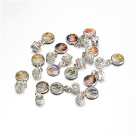 Alloy Rhinestone Pendants, with Grade A, 11x26x7mm, hole: 4mm