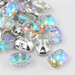 Colorful Taiwan Acrylic Rhinestone Buttons, Faceted, 1-Hole, Rectangle, Colorful, 30x21x10.5mm, Hole: 2mm