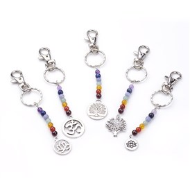 Tibetan Style Alloy Keychain, with Natural Gemstone Beads, Iron Key Rings and Alloy Swivel Lobster Claw Clasps