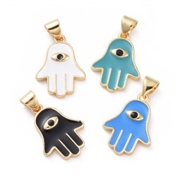 Mixed Color Enamel Pendants, with Brass Findings, Hamsa Hand/Hand of Fatima/Hand of Miriam with Eye, Golden, Mixed Color, 18.5x13.5x2mm, Hole: 3x5mm