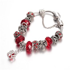 Red Alloy Rhinestone Bead European Bracelets, with Glass Beads and Brass Chain, Red, 190mm