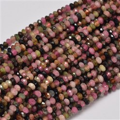 Tourmaline Faceted Rondelle Natural Tourmaline Bead Strands, 3x2mm, Hole: 1mm; about 180pcs/strand, 15.5""