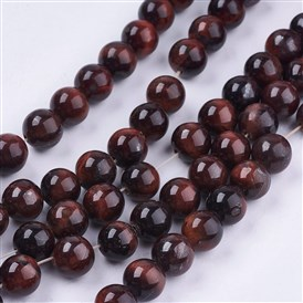 Natural Red Tiger Eye Stone Bead Strands, Dyed, Round