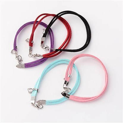 Faux Suede Multi-strand Bracelet Making, with Alloy Lobster Claw Clasps and Iron Findings-1