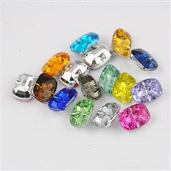 Mixed Color Taiwan Acrylic Rhinestone Buttons, Faceted, 1-Hole, Rectangle, Mixed Color, 30x21x10.5mm, Hole: 2mm