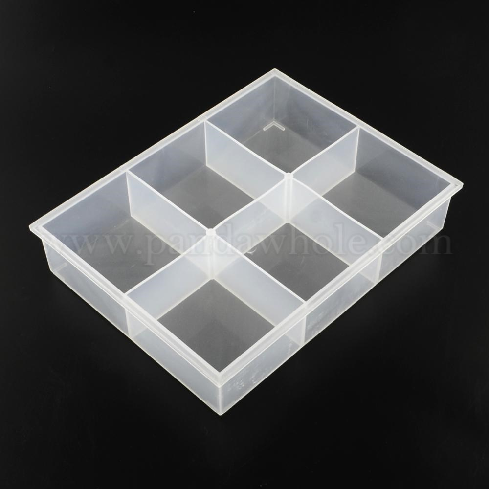 Wholesale 6 Compartments Rectangle Plastic Bead Storage Containers