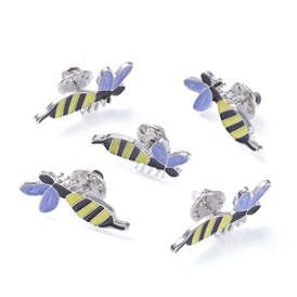 Alloy Brooches, with Enamel, Iron Pins and Brass Butterfly Clutches, Bee, Platinum