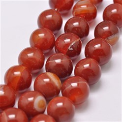 "OrangeRed Natural Striped Agate/Banded Agate Bead Strands, Dyed & Heated, Round, Grade A, OrangeRed, 14mm, Hole: 2mm; about 28pcs/strand, 14.9""(380mm)"