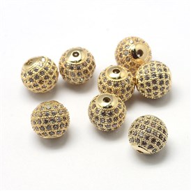 Rack Plating Brass Cubic Zirconia Beads, Long-Lasting Plated, Round
