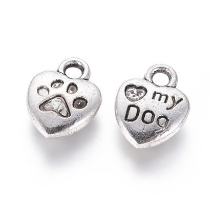 Tibetan Style Alloy Charm Enamel Settings, Heart Carved Word My Dog, Lead Free, 13x10x3mm, Hole: 2mm; about 980pcs/1000g