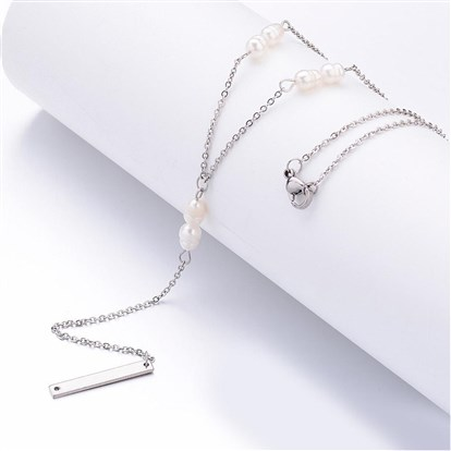 304 Stainless Steel Pendant Necklaces, Rectangle, with Freshwater Pearl Beads and 316 Stainless Steel Cross Chains-1