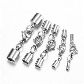 304 Stainless Steel Lobster Claw Clasps, with Cord Ends