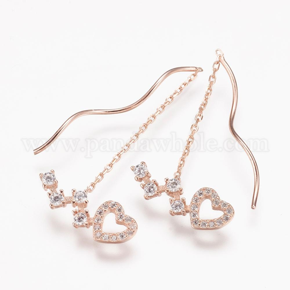 Wholesale 925 Sterling Silver Dangle Earrings With Cubic