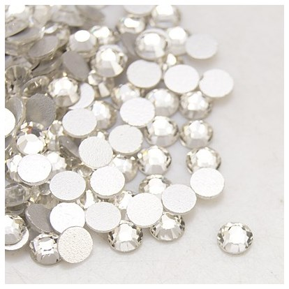 Glass Flat Back Rhinestone, Grade A, Back Plated, No Hot-Fix, Faceted, 8~8.3mm; about 144pcs/bag-1