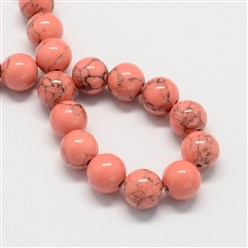 LightCoral Dyed Synthetic Turquoise Gemstone Bead Strands, Round, LightCoral, 6mm, Hole: 1mm; about 66pcs/strand, 15.7""