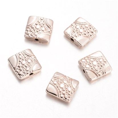 Square Alloy Beads, 11x11x3mm, Hole: 1mm-1