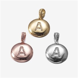 Brass Pendants, with Cubic Zirconia, Cadmium Free & Lead Free, Flat Round with Letter