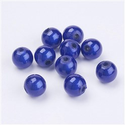 Blue Spray Painted Miracle Acrylic Beads, Bead in Bead, Round, Blue, 8mm, Hole: 1.8mm; about 1800pcs/500g