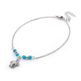 Synthetic Turquoise Charms Anklets, with Tibetan Style Alloy Pendants, 304 Stainless Steel Findings and Iron Eye Pin, Sea Turtle