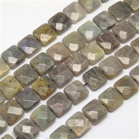 Natural Labradorite Beads Strands, Faceted, Square, 16x16x7mm, Hole: 1mm; about 25pcs/strand, 15.7
