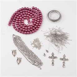 Old Rose DIY Jewelry Material Packages, Including Tibetan Style Alloy Pendants, Glass Pearl Beads, Stainless Steel Findings, Chain and Tiger Tail, Old Rose, 8x1mm