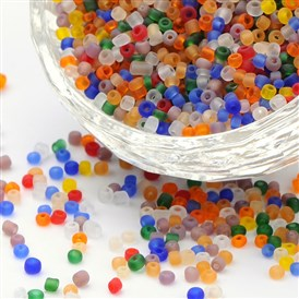 Glass Seed Beads, Frosted Colors, Round