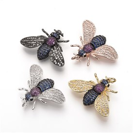Brass Micro Pave Cubic Zirconia Pendants, with Jump Rings, Fly