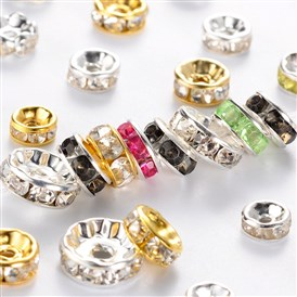 Iron Rhinestone Spacer Beads, Mixed Shape, 6~10x3~4mm, Hole: 1~2mm