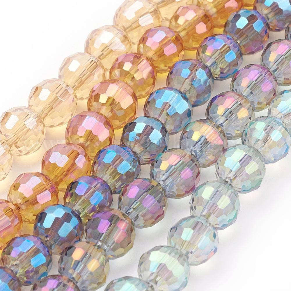 50PCS Mixed Crackle Glass Bead Round 12mm Crystal Charms Beads Jewelry Making