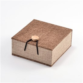 Rectangle Wooden Bracelet Boxes, with Burlap and Velvet, 10.4x10x5.2cm