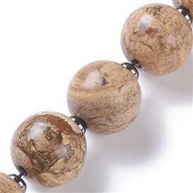 Natural Picture Jasper Beads Strands, Round