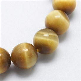 Natural Yellow Tiger Eye Beads Strands, Round, Hole: 1mm