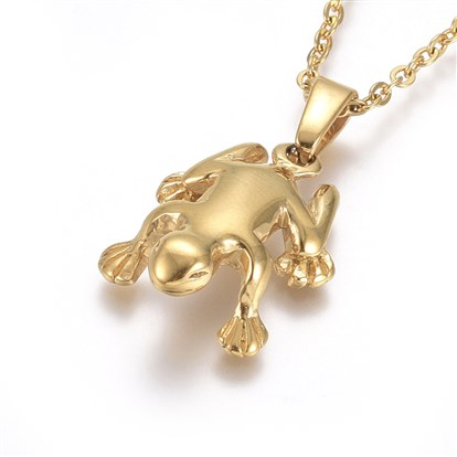 304 Stainless Steel Pendant Necklaces, with Cable Chains and Lobster Claw Clasps, Frog